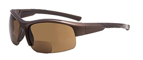 Eyekepper TR90 Unzerbrechlich Sport Bifokal Halbrand Sonnenbrille Baseball Laufen Angeln Fahren Golf Weicher Ball Wandern Perlig-Braun Rahmen +2.5