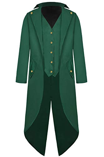 Mens Steampunk Tailcoat Jacket Vintage Gothic Victorian Long Frock Coat Uniform Halloween Cosplay Costume Y097GR2XL Green