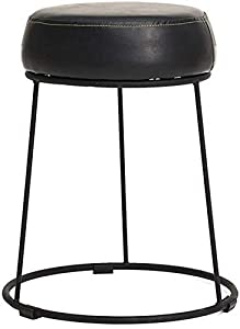 HZC Comfortable Footstool PU Leather Iron Frame Changing Shoe Stool Salon Bedroom Four Colors (Color : Black)
