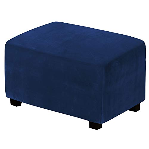 H.VERSAILTEX Real Velvet Plush 1 Piece Form Fit Stretch Rectangle Folding Storage Covers Ottoman Slipcovers Removable Footstool Protect Footrest Covers Elastic Bottom, Machine Washable(Large, Navy)
