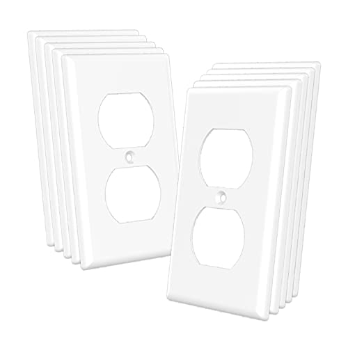 TaniaWiring 10 Pack Duplex Wall Plates, 1-Gang Standard Size Electrical Outlet Cover, Unbreakable Polycarbonate Thermoplastic, TAN-70W-10PCS – White, UL Listed