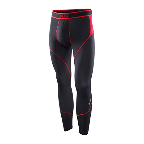 Saxx Men's Kinetic Tight Boxers Underwear Medium Black/Red