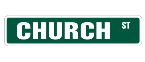 "CHURCH Street Sign new york world trade center | Indoor/Outdoor | 24"" Wide Plastic Sign"