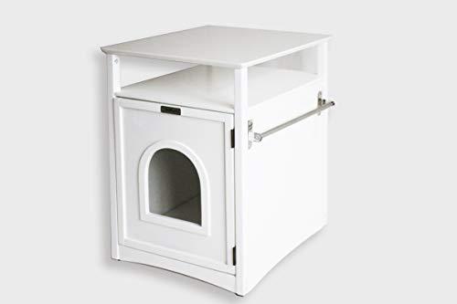 Simply Loo | Katzenhaus | Haus für Katzentoilette | Badmöbel für das Katzenklo | Cat House mit Tisch und Ablage