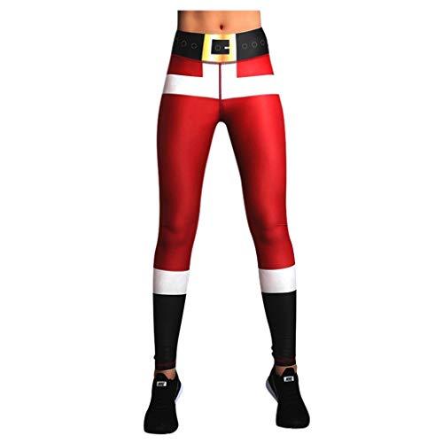 TUDUZ Weihnachten Damen Leggings, Lang Frauen Sporthose, Stretch und Hohe Taille Slim Fit Fitnesshose Yogahosen(Wein,X-Large)