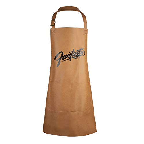 Delantal de Cocina Impermeable Cuero Delantales con Bolsillos y Ajustable Correa para el Cuello para Hombre y Mujer Marrón