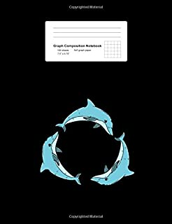 Graph Composition Notebook: Three Dolphins Circle Cute Sea Animal Underwater Gift - Black Math, Physics, Science Exercise Book - Back To School Gift ... Teens, Boys, Girls - 7.5
