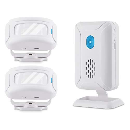 NineLeaf Infrarot Türklingel Alarm Sensor Glocke Ladeklingel Durchgangs- oder Eingangsmelder Willkommensgast mit 32 verschiedenen Melodien für Business Hotel Zuhause Weiß 2 Sender und 1 Empfängern