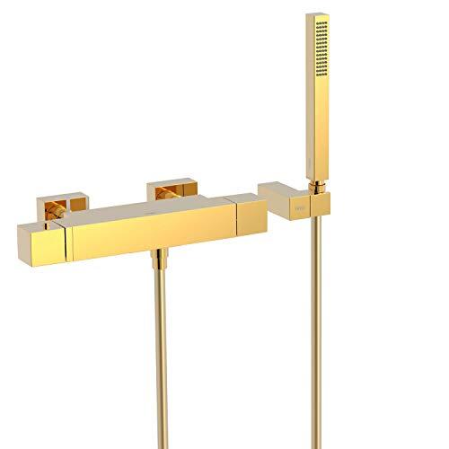 CUADRO EXCLUSIVE Bañera‑ducha termostática con cascada. Ducha de mano anticalcárea con soporte orientable y flexo SATIN. Inversor integrado en el regulador de caudal.