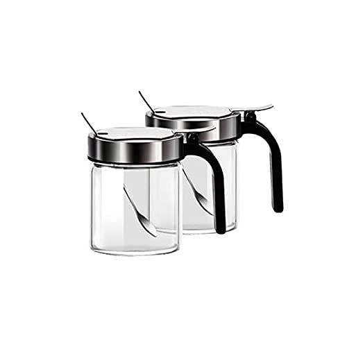 Spice Box Creating Jar Spice Container,met roestvrijstalen deksels,voor keuken,teller,voedselopslag,2 stuks Kruiden…
