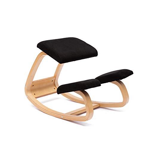 JZGORC Sedia ergonomica inginocchiato Grande Home Office o Sedia da scrivania (Flanella-Nero)