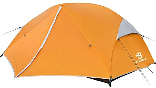 Bessport Ultraleicht Zelte 2-3 Personen, Winddicht &Wasserdicht PU 3000MM+, 3-4 Saison, Kuppelzelt Sofortiges Aufstellen für Trekking, Festival, Camping und Outdoor (3Person-orange)