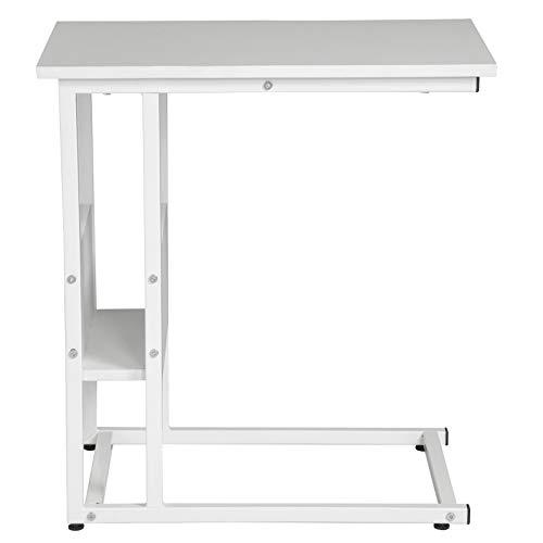 eSituro SCD0095 Beistelltisch Couchtisch Laptoptisch Nachttisch Betttisch Kaffeetisch Holz Stahl Weiß