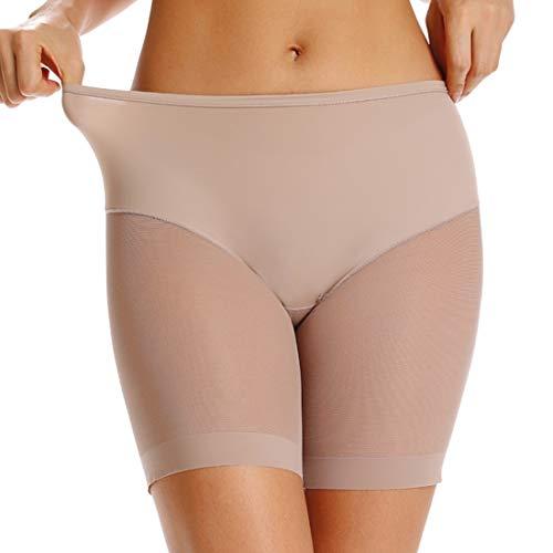 WOWENY - Pantalones cortos antideslizantes para debajo de los vestidos, ropa interior para mujer, Beige (malla), M