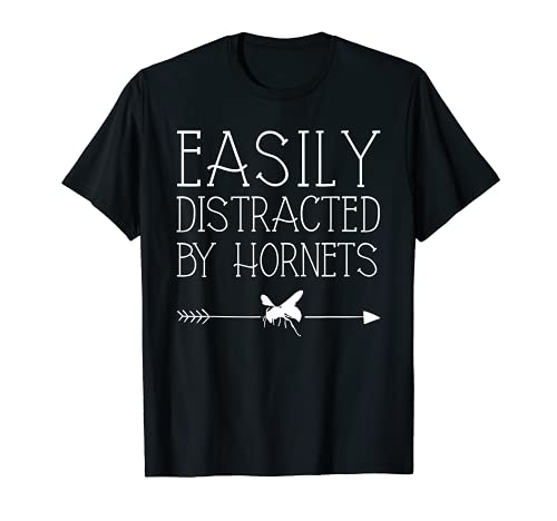 Easily Distractted By Hornets 女の子や女性へのギフト 虫のスズメ Tシャツ