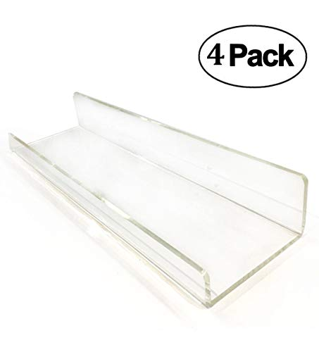 Blingsoul 4 Pack Clear Acrylic Shelves - 15 Inches Floating Shelves Wall Mount, Bathroom Shelf, Makeup Organizer, Invisible Ledge Storage Shelves, Room Decor, Bookshelf