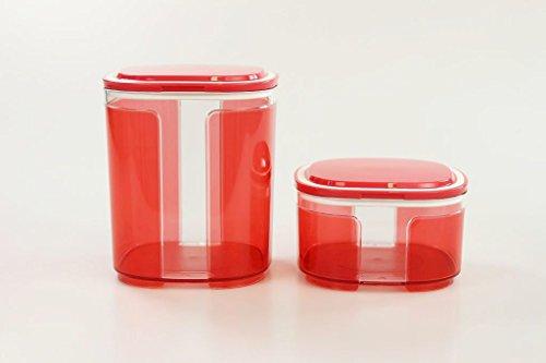 TUPPERWARE Skyline 1,5 L rot transparent + 700 ml Vorratsdose Trockenvorrat Dose Box