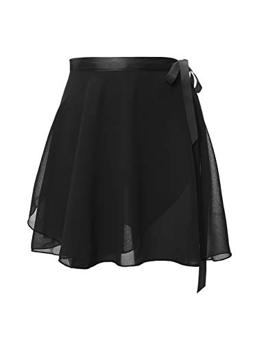 Daydance Teens Sheer Ballet Skirt Women Wrap Chiffon Over Scarf for Dancing Black