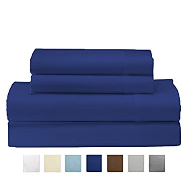 Claudette Collection Egyptian Quality Double Brushed Microfiber Sheet Set. Hypoallergenic, Wrinkle & Fade Resistant Hotel Luxury Bed Sheets. By Home Fashion Designs Brand. (King, Navy)