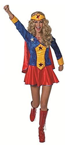 narrenkiste W4260-38 - Disfraz de supergirl para mujer, talla 38, color azul y rojo