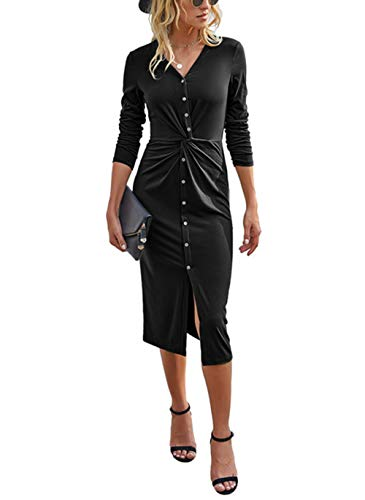 KIRUNDO 2020 Women's Deep V Neck Dress Long Sleeves Solid Twist Front Bodycon Dress Button Down Tunic Midi Long Dress (Large, Black)