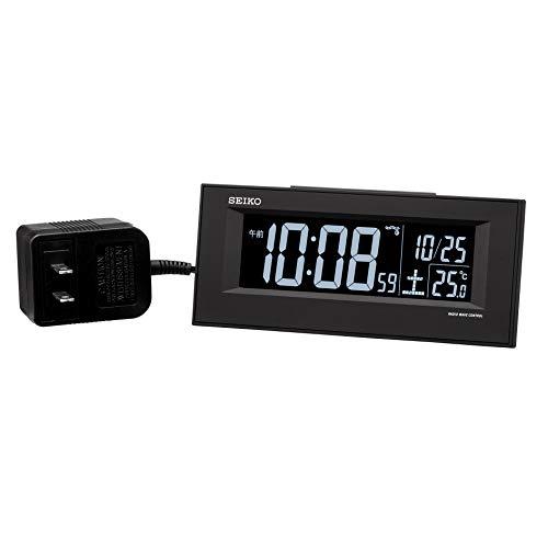 セイコークロック 置き時計 01:黒 本体サイズ:6.4×15.4×3.9cm 目覚まし時計 電波 交流式 デジタル BC413K