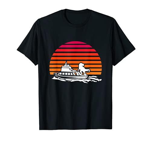 T-Rex en un Yate, Capitn de Barco Ropa de Navegacin Navega Camiseta