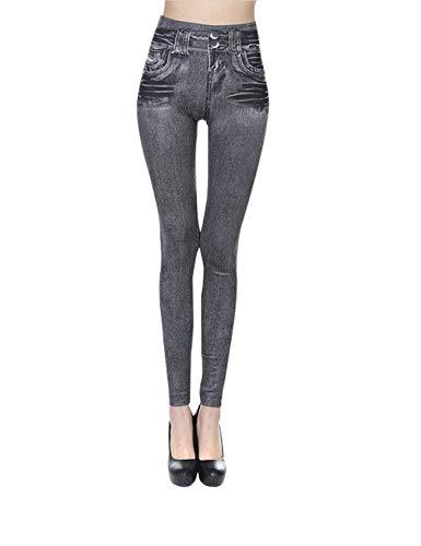 Bestgift Skinny Jeans leggings voor dames, kleur grijs, maat XL