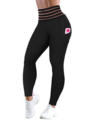 OMKAGI - Leggings de cintura alta para mujer, con control de barriga y fruncido - Negro - Large