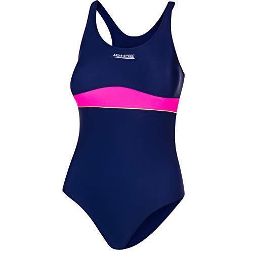 Aqua Speed Schwimmanzug für Mädchen Kinder 11/12 Jahre | UV Badeanzug Strand | Mädcheneinteiler Marineblau rosa | Swimming Suit Girls Kids | Beach | 47 Navy Blue - pink | Emily
