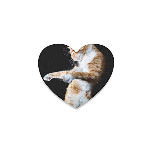 Posavasos para mesa de café, diseño de gato bailando en el suelo blanco con forma de corazón rústico para bebidas, para apartamentos, cocina, sala de bar, decoración