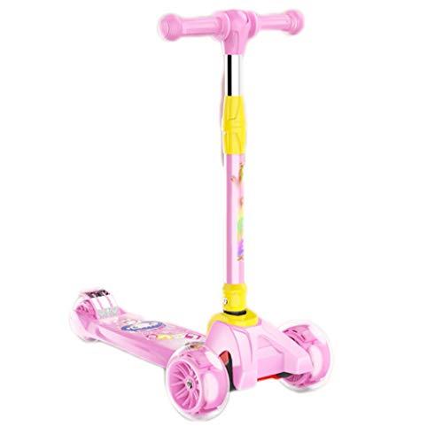 Scooters para Niños Chica Flash Kick Scooter, Scooter de Glide Lean 'N con Ruedas de iluminación Extra Anchas de PU y Alturas Ajustables para niños de 3-12 años Antideslizante Scooter Patinete Niño