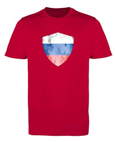 Comedy Shirts - Russland Trikot - Wappen: Groß - Wunsch - Herren Trikot - Rot/Weiss Gr. XL
