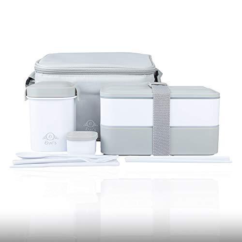 DWIS Lunch Box, Bento Box Sans BPA, Bento Japonais Avec Lunch Bag Isotherme | Boite Bento 2 Compartiments de Marque Française | Boite Repas Hermétique Avec Couverts | Box Lunch Ecologique | 1200 ml