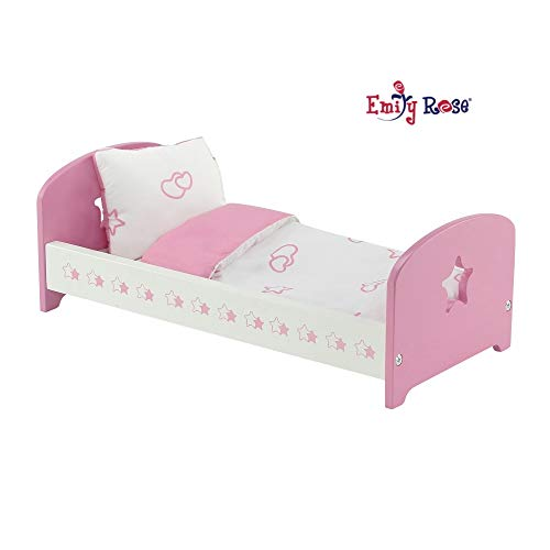 Emily Rose 14 Inch Doll Furniture | Lovely Pink and White Single Bed with Beautiful Star Motif, Includes Plush Reversible Bedding | Fits American Girl Wellie Wisher Dolls
