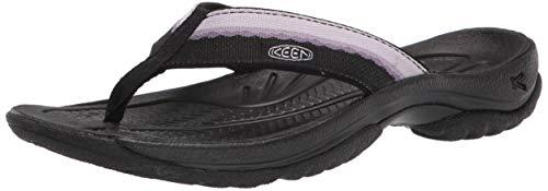 KEEN Women's Kona Flip Flop Beach Sport Sandal, Black/Thistle, 6.5