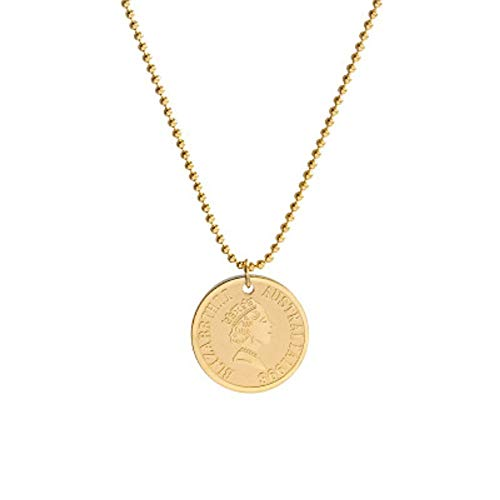 WanXingY Reina Cabeza imitación Moneda de Titanio Acero Collar Oro joyería Tendencia Ladies clavícula Cadena Collar (Color : Rose Gold Color, Size : 50cm)