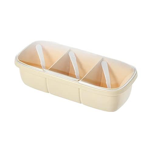 Annfly Grid Plastic Seasoning Box Set With Spoon And Lid Seasoning Pot, Spice Pot, Sugar Bowl, Seasoning Storage Box Combinations(apricot)