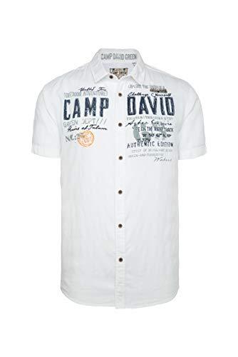 Camp David Herren Hemd mit toniger Karo-Struktur und Artwork