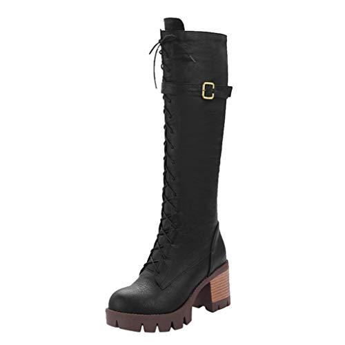 serliy😛Damenschuhe Stiefel Schnürstiefel Damen Leder Flache Langschaftstiefel Schnürstiefelett, Schuhe Schnalle Roman Riding Kniehohe Cowboystiefel Lange Stiefel