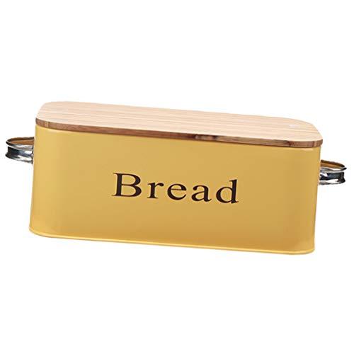 F Fityle Modern Brotbehälter Eisen Brotaufbewahrung Brotkiste Brotkorb Vorratsbehälter Keksdosen für Kuchen, Muffins, Desserts, Brots - Gelb L