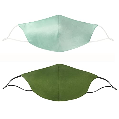 Spring of 2047 2pcs Reusable face cover 100% natural silk face mask for adult (Mint green/Olive green)