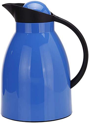 ZCRR Jarra al vacío, olla aislante de 1 l, forro de vidrio para el hogar, botella de agua caliente europea, de gran capacidad, a prueba de fugas (color: azul)