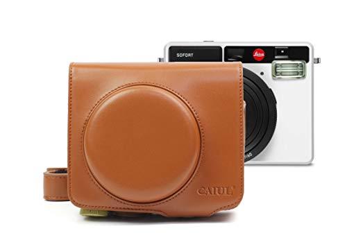 HONGYUE Bolsa de Cuero Vintage PU for cámara Leica Sofort (marrón) (Color : Brown)