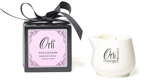 Orli - Candela da massaggio in ceramica, con confezione regalo, colore: Rosa e Rabarbaro