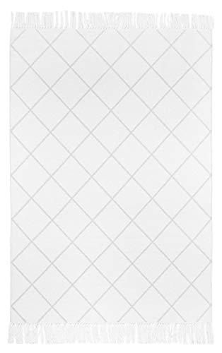 andiamo Baumwollteppich Glitter, Wendeteppich, Ethno Look, kariert, Größe:140 x 200 cm, Farbe:Creme