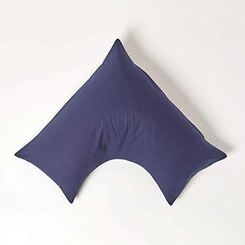 HOMESCAPES Funda de Almohada Forma V 100% algodón Egipcio 200 Hilos 110 x 80 x 80 cm Color Azul Marino
