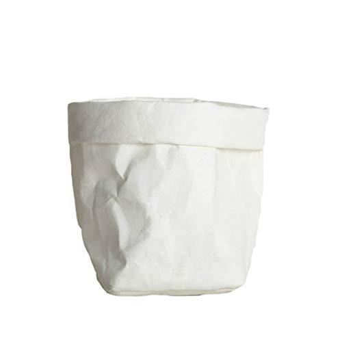 RJZF Maceta De Papel Kraft Mini Maceta De Suculentas, Bolsas De Almacenamiento Lavables para El Hogar, Bolsa para Macetas De La Bolsa De Organizador De Artículos Varios (25X25X40Cm) Blanco