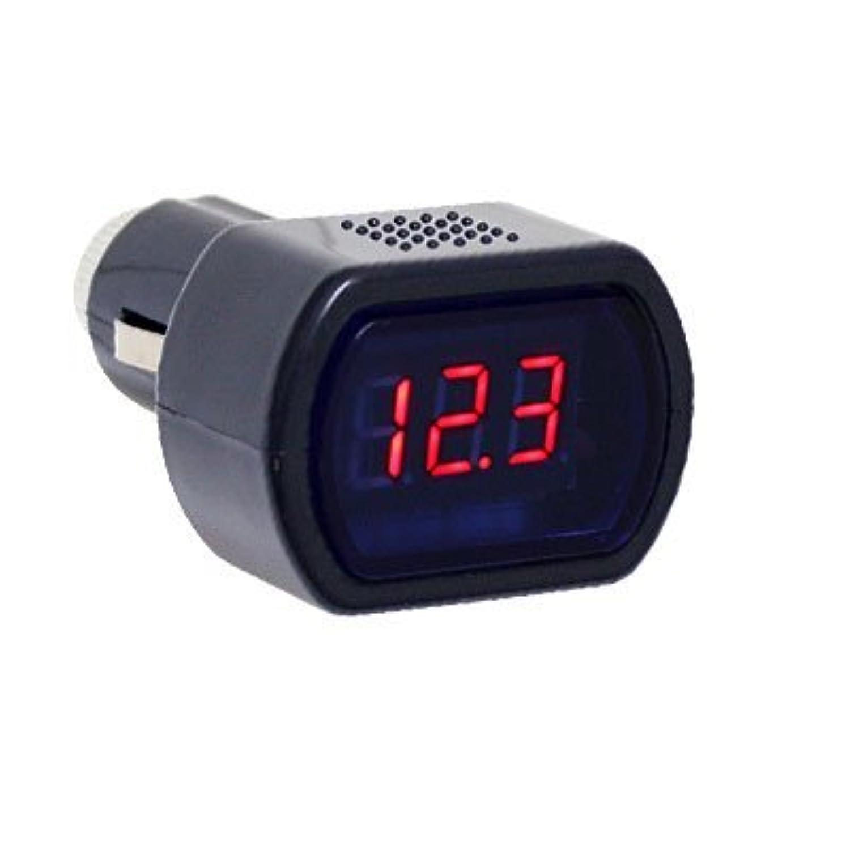 シガー挿込 デジタル表示【電圧計】 ボルテージメーター【赤】WF-021