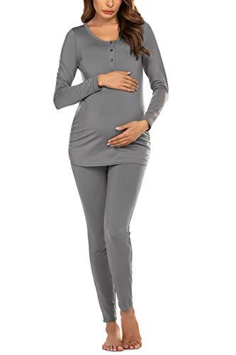 Ekouaer Womens Maternity Thermal Underwear Long Johns Set Buttons Nursing Pajama Set with Fleece Lined (Grey XXL)